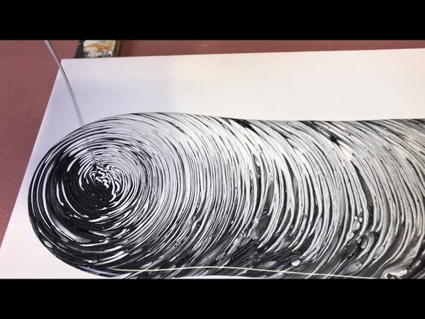 Fluid Painting Acrylic Pouring Super EASY Black and White only Tree Ring Pour Wigglz Art