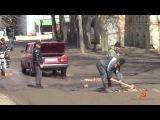 РЖАЧ.ПРИКОЛ. Ремонт дорог кирпичами в России.Repair of roads bricks in Russia