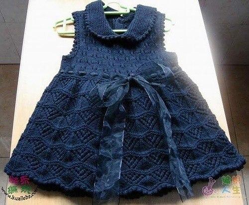 Нарядное платье для девочки. Вяжут мастерицы онлайн на осинке …. (3 фото) - картинка