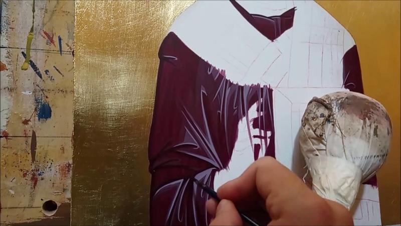 Byzantine icon painting time lapse