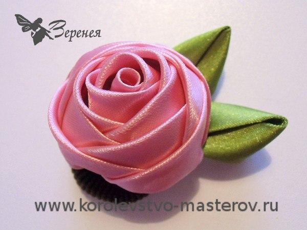 Роза из атласной ленты своими руками мастер