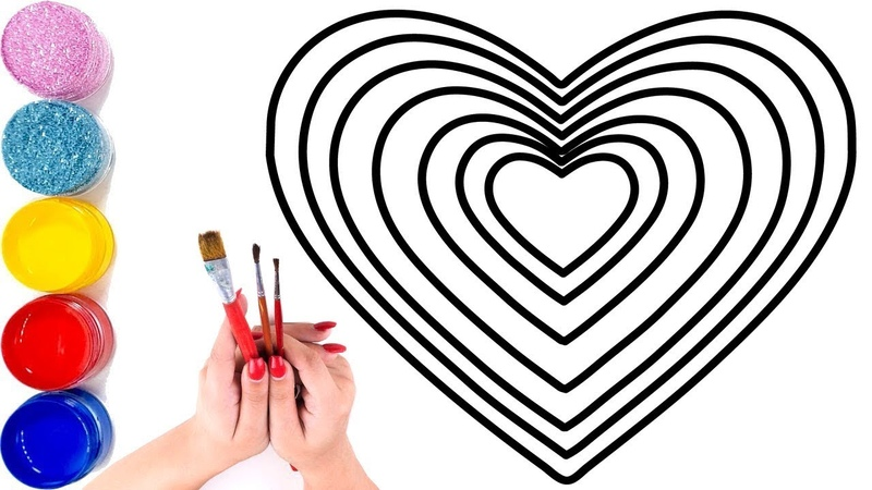 How to tutorial draw Heart rainbow coloring and drawing for kids, learn colors jolly toy art