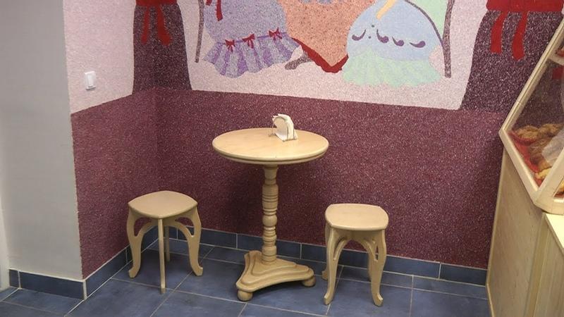 барная стойка круглый стол и табуреты