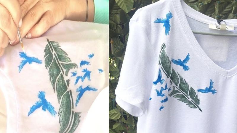 Tişört Boyama Nasıl Yapılır | Stensil ile Tshirt Boyama Kendin Yap Videosu | El Yapımı Hediyeler