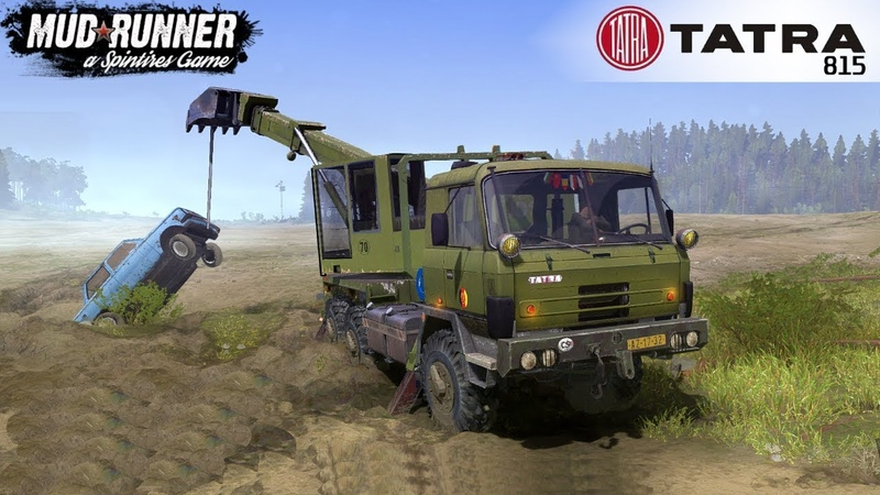Spintires: MudRunner - TATRA 815 UDS 114 Excavator Pulls the Car out of the Ditch