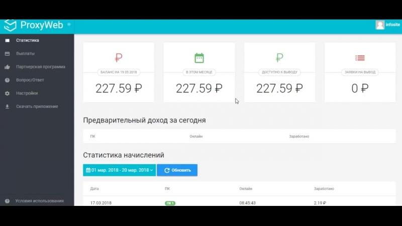 Proxy web программа для автозаработка Вывод средств 227 рублей с сайта proxy web