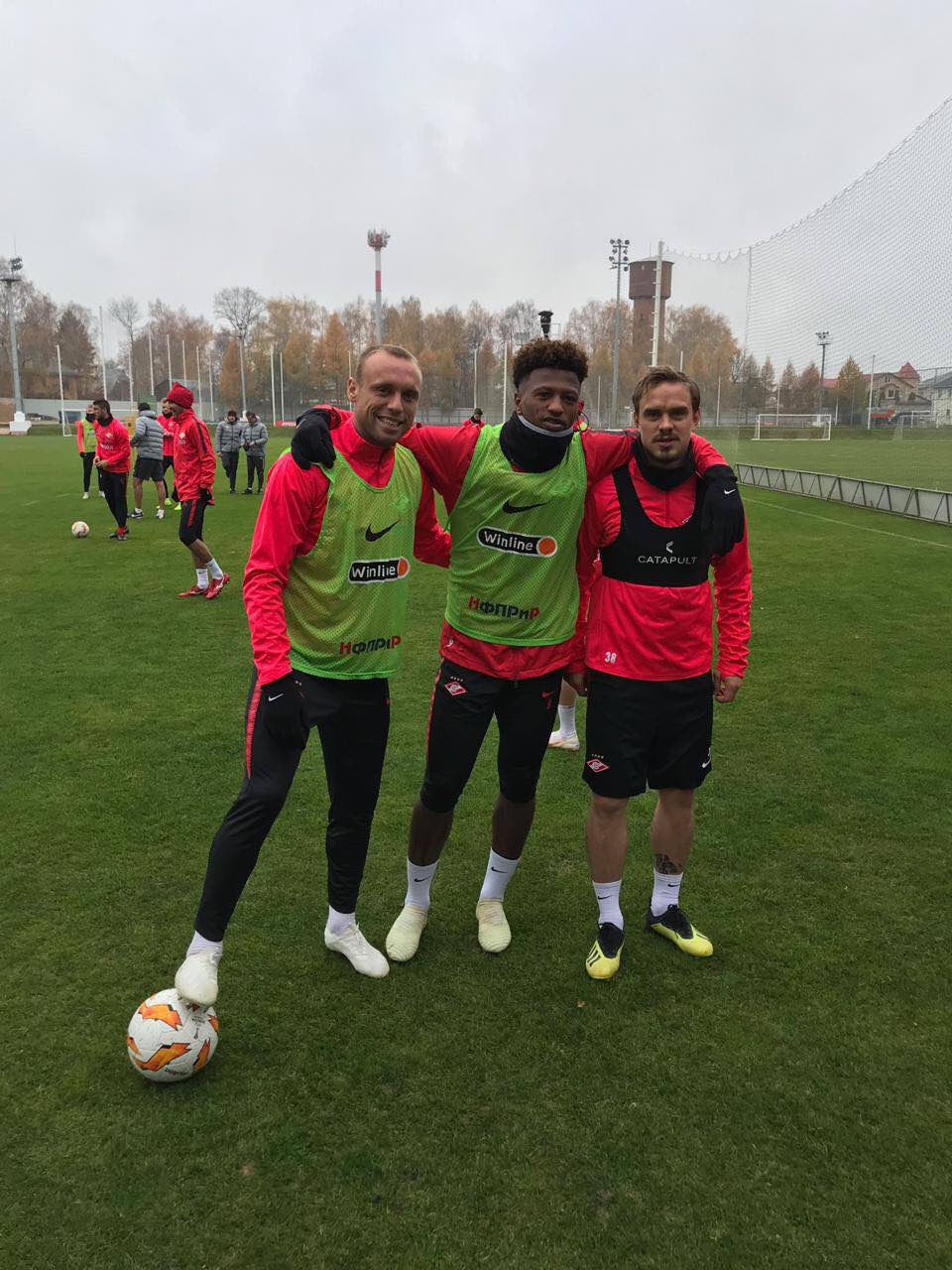 Денис Глушаков, Зе Луиш и Андрей Ещенко на тренировке «Спартака»
