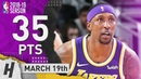 Kentavious Caldwell-Pope Full Highlights Lakers vs Bucks 2019.03.19 - 35 Points off the Bench!