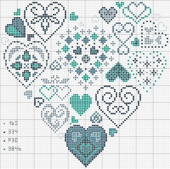 вышивание крестиком сердечко схема