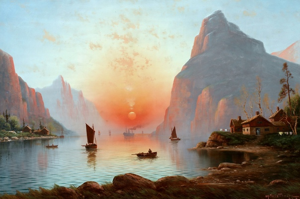 Картина «Норвежский фьорд в сумерках»