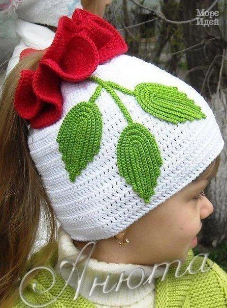 Вязаная шапочка для девочки Роза (3 фото) - картинка