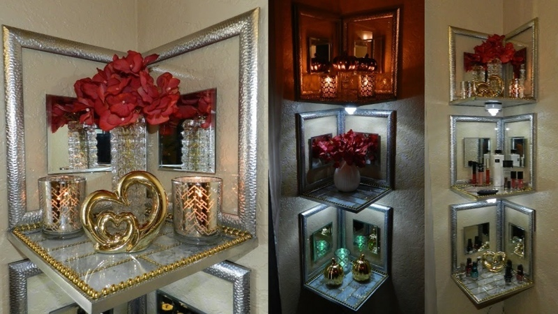 Dollar Tree DIY Lighted Corner Shelves Glam Dollar Tree Home Decor DIY