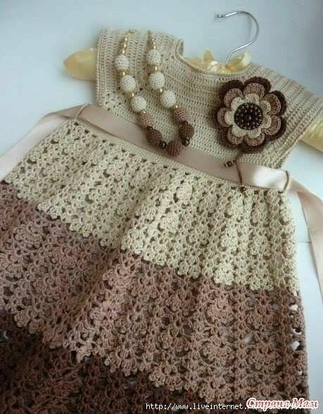 Delicadezas en crochet Gabriela: Vestido de bebé técnica crochet ...