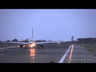 Посадка самолета Tu-204-100B авиакомпании Red Wings в Испании при сильном боковом ветре.