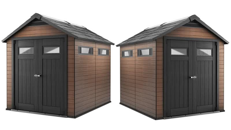 Keter Fusion Large 7.5 x 9 ft. Wood Plastic Outdoor Yard Garden Composite Storage Shed