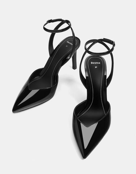 Лакированные туфли-мюли, на каблуке