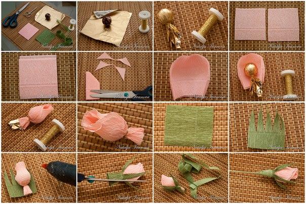 Мастер-класс «Конфетный бутон розы»