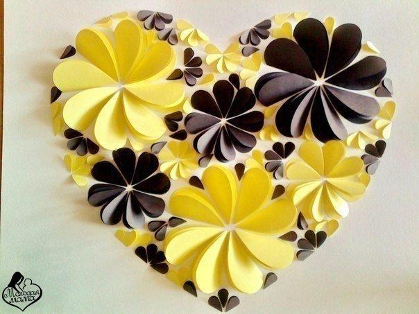 Панно объемные цветы из бумаги