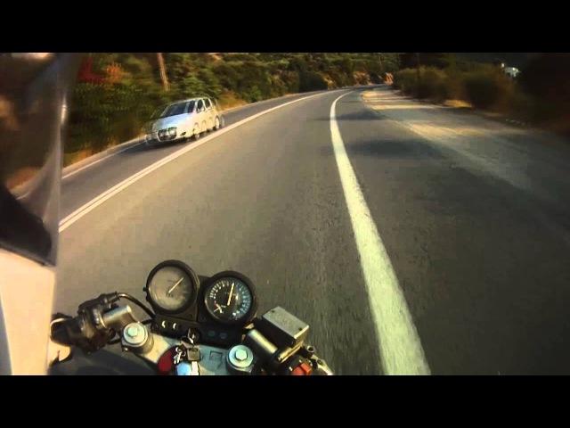 Honda CB-1 400 NC27 ride - Heraklion to Rethymno 2up, helmet cam