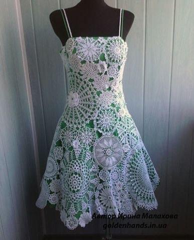 Ажурное платье крючком из мотивов (8 фото) - картинка