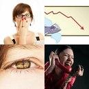 удивление девушки, график падения рынка, зрачок, женщина с телефоном