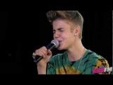 Justin Bieber singing Catching Feelings at KIIS FM
