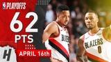 Damian Lillard &amp CJ McCollum Game 2 Highlights vs Thunder 2019 NBA Playoffs - 62 Pts Combined!