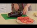 Здоровое питание запеченный баклажан с помидорами сыром и заливкой готовим с Аленой Высоцкой