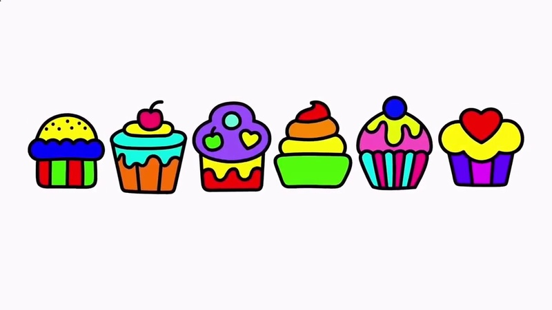 HOW TO DRAWING, PAINTING AND COLORING cupcakes