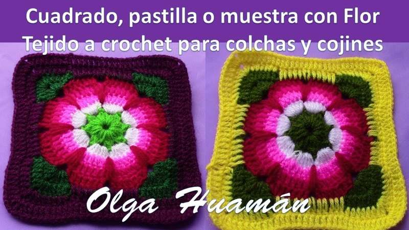 Cuadrado Flor a crochet para colchas y cubrecamas TEJIDOS OLGA HUAMAN