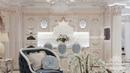 Высокохудожественный роскошный интерьер гостиной, переходящей в столовую и зону кухни.