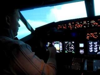 в кабине пилота на Боинге 747