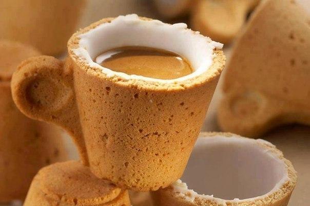 Самая удобная кофейная чашка в мире выпил эспрессо, съел десерт и мыть не надо.