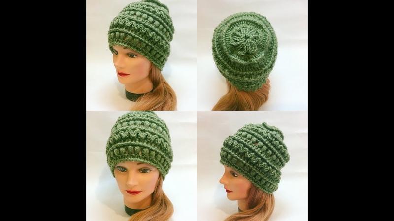 Шапка крючком с интересной макушкой.Crochet cap
