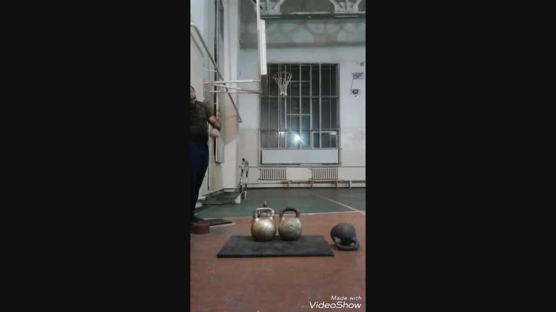 Гири - 50 kg 32 kg (82kg). Подрывы одной рукой. Раскачка силы.