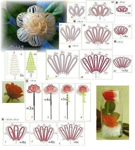 Как сделать розы из бисера своими руками видео