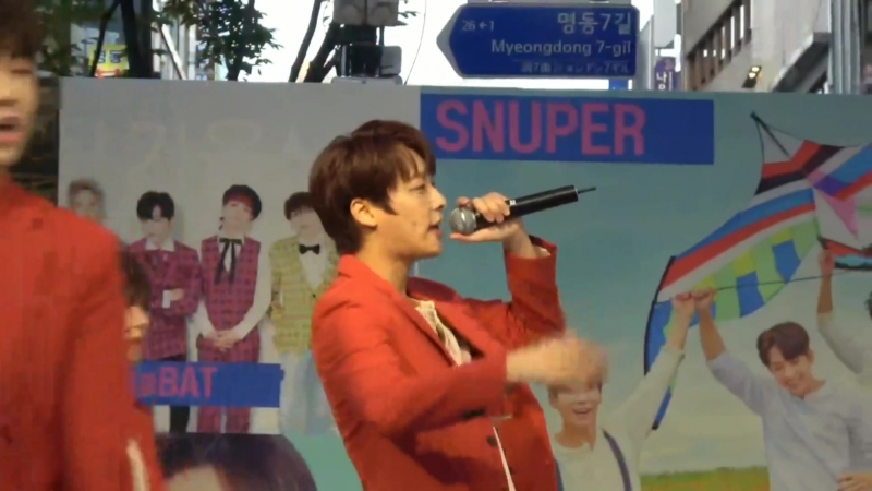 181011 SNUPER Starry Winter Night Sangil Focused @ Myeongdong Busking