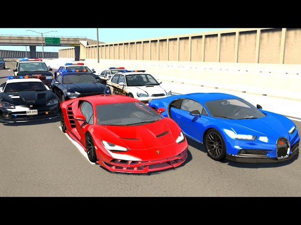 BeamNG.drive Supercar High Speed Police Chases 2 - (BeamNG Crash Compilation)