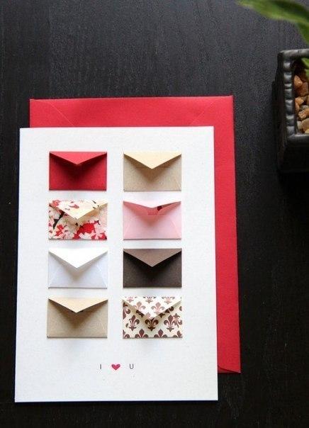Как сделать открытку с конвертиками для пожеланий 84