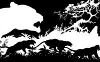 Трехъярусная композиция черного на белом и белого на черном создает интересный пространственный эффект.
