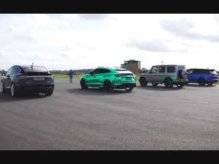 Lamborghini Urus v Tesla Model X v Mercedes-AMG G63 v Range Rover Sport SVR - DR