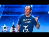 Lost Voice Guy has the audience ROARING with unique comedy routine Auditions BGT 2018