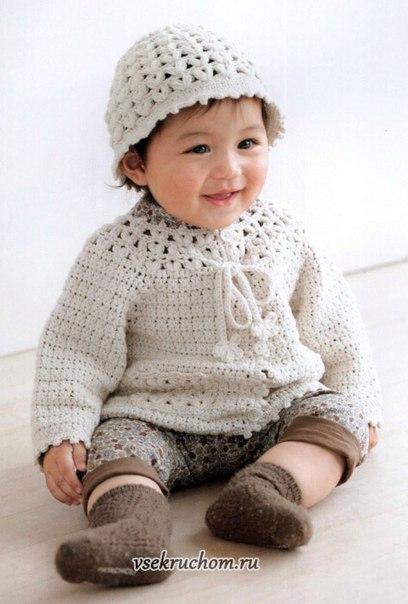 Кофточка и шапочка для малыша — Костюм.Комплект… (8 фото)