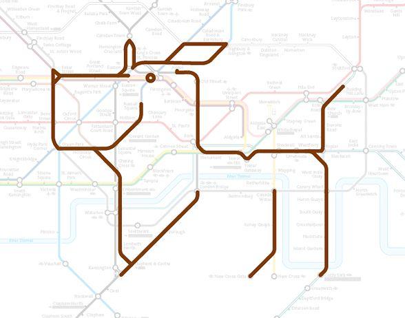 Животные на карте Лондонского метрополитена