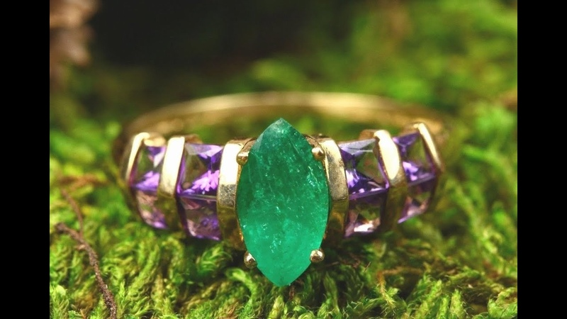 MOTHERS DAY 2.18 TCW COLOMBIAN EMERALD AMETHYST SOLID GOLD RING 14K