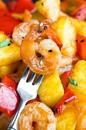 Креветки с ананасом и соусом барбекю