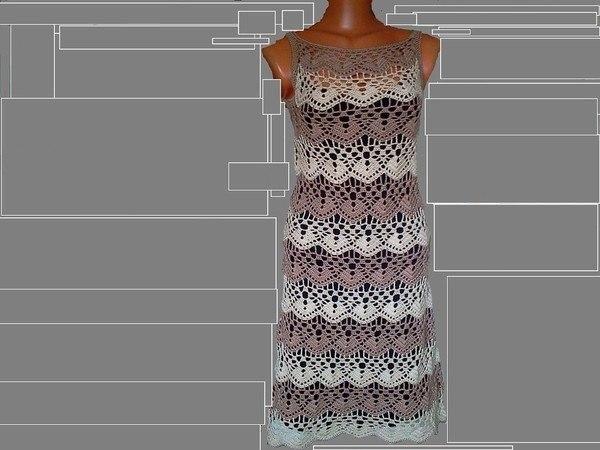 Платье красивым узором, вязаное крючком… (3 фото) - картинка