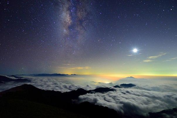 Луна и галактика, гора Хэхуань