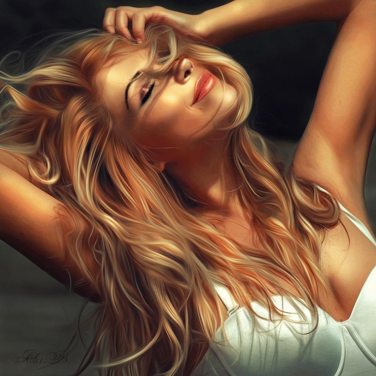 Жест женщина попровляет волосы секс