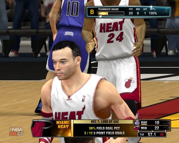 20 очков в первой четверти за Хит в НБА2К13